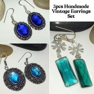 NEW Blue Topaz Iolite Quartz Handmade Earrings Set